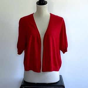 Talbot's deep red cotton crop sweater